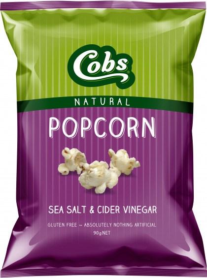 Cobs Natural Sea Salt & Cider Vinegar Popcorn  12x90g