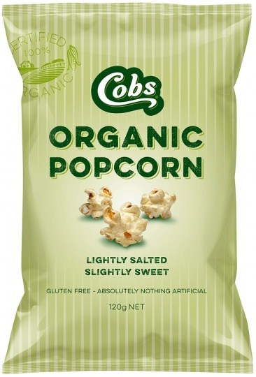 Cobs Organic Lightly Salted, Slightly Sweet Popcorn  12x120g
