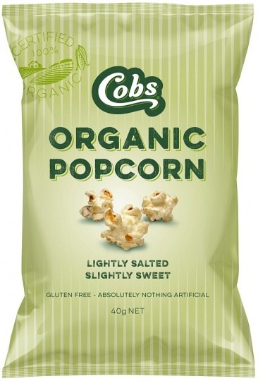 Cobs Organic Lightly Salted, Slightly Sweet Popcorn  24x40g
