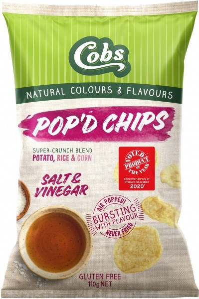 Cobs Pop'd Chips Salt & Vinegar  12x110g