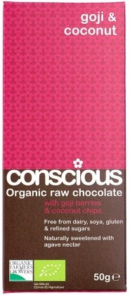 Conscious Organic Raw Chocolate Goji and Coconut 50gm