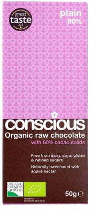 Conscious Organic Raw Chocolate Plain 60%  50gm