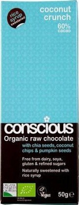 Conscious Organic Raw Chocolate Rice Syrup Coconut Crunch 50gm