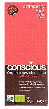 Conscious Organic Raw Chocolate Rice Syrup Cranberry Kiss 50gm
