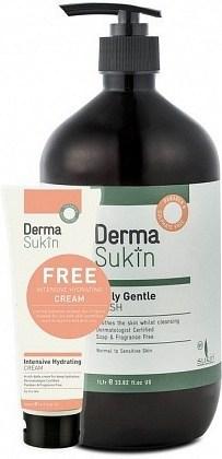 DermaSukin Daily Gentle Wash 1L+BONUS Intensive Hydrating Cream Tube 70ml