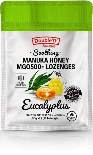 Double D Manuka Honey MGO500+ 16 Lozenges Eucalyptus w/Propolis  80g