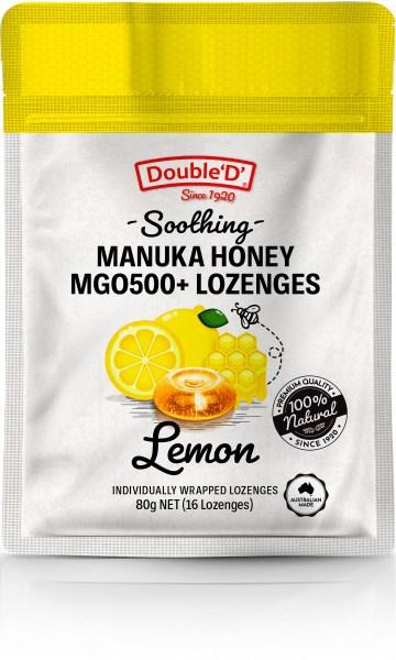 Double D Manuka Honey MGO500+ 16 Lozenges Lemon  80g