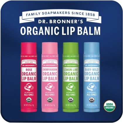 Dr Bronner's Organic Lip Balm 4 Pack Gift Tin
