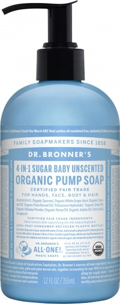 Dr Bronner's Organic Pump Soap Baby Unscented 355ml