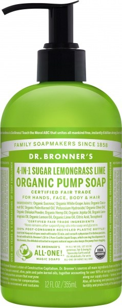 Dr Bronner's Organic Pump Soap Lemongrass Lime 355ml
