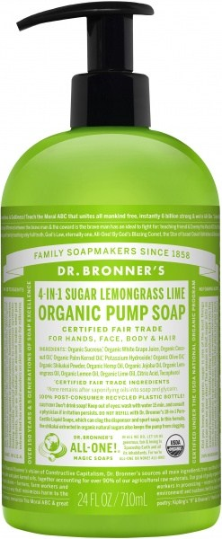 Dr Bronner's Organic Pump Soap Lemongrass Lime 710ml