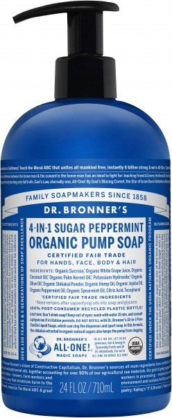 Dr Bronner's Organic Pump Soap Peppermint 710ml