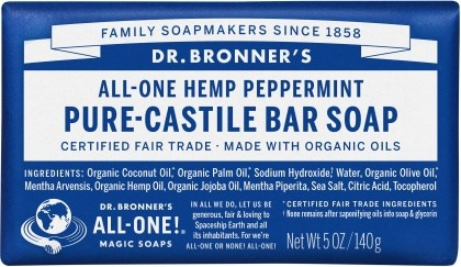 Dr Bronner's Pure Castile Bar Soap Peppermint 140g
