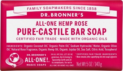 Dr Bronner's Pure Castile Bar Soap Rose 140g