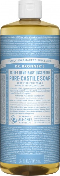 Dr Bronner's Pure Castile Liquid Soap Baby Unscented 946ml