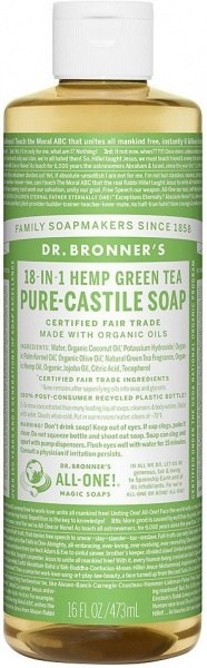 Dr Bronner's Pure Castile Liquid Soap Green Tea 473ml