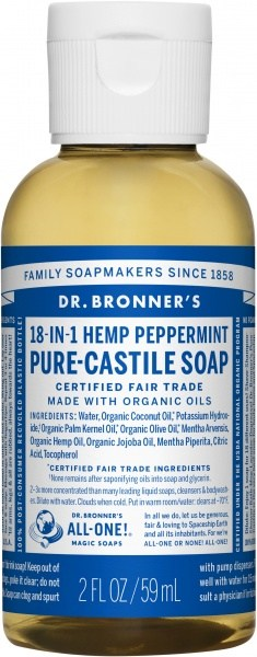 Dr Bronner's Pure Castile Liquid Soap Peppermint 59ml