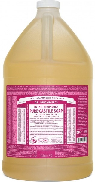 Dr Bronner's Pure Castile Liquid Soap Rose 3.78L