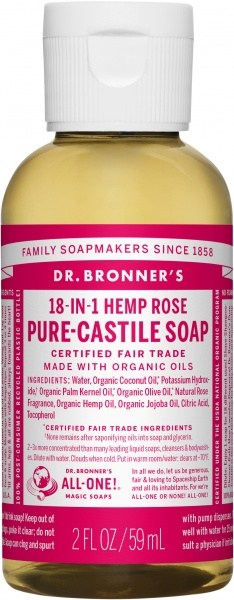 Dr Bronner's Pure Castile Liquid Soap Rose 59ml
