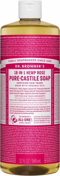 Dr Bronner's Pure Castile Liquid Soap Rose 946ml