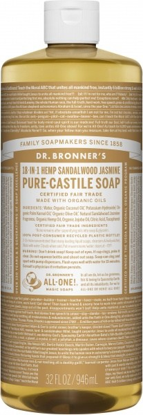 Dr Bronner's Pure Castile Liquid Soap Sandalwood Jasmine 946ml