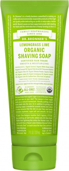 Dr Bronner's Shaving Soap Lemongrass Lime 207ml