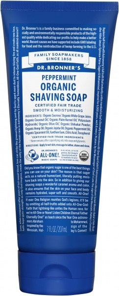 Dr Bronner's Shaving Soap Peppermint 207ml