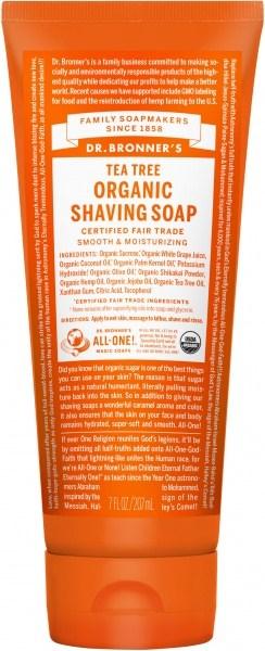 Dr Bronner's Shaving Soap Tea Tree 207ml