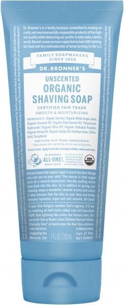 Dr Bronner's Shaving Soap Unscented 207ml