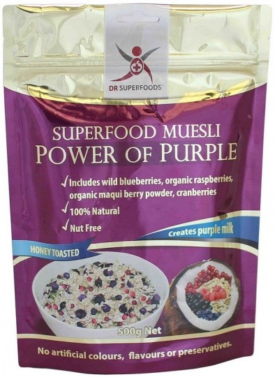 Dr Superfoods Power of Purple Honey Toasted Muesli 500g