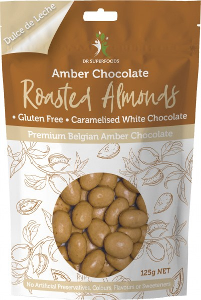 Dr Superfoods Roasted Almonds  Premium Belgian Amber Chocolate125g SEPT 21