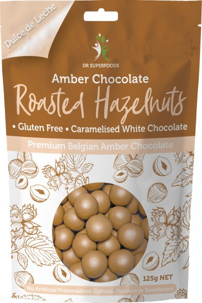 Dr Superfoods Roasted Hazelnuts  Premium Belgian Amber Chocolate 125g