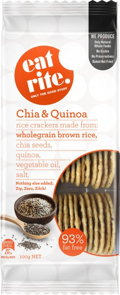 Eatrite Chia & Quinoa Brown Rice Crackers  100g