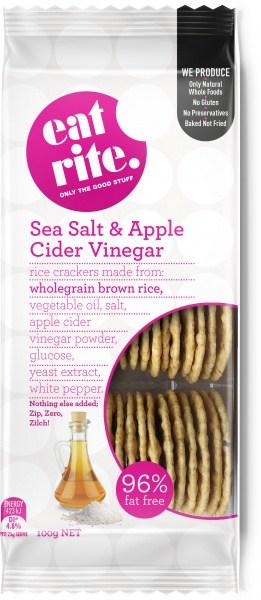 Eatrite Wholegrain Brown Rice Sea Salt & Apple Cider Vinegar Crackers 100g