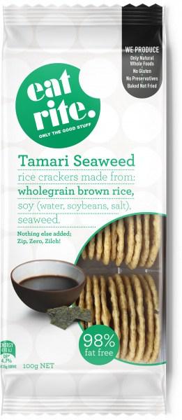 Eatrite Wholegrain Brown Rice Tamari Seaweed Crackers 100g