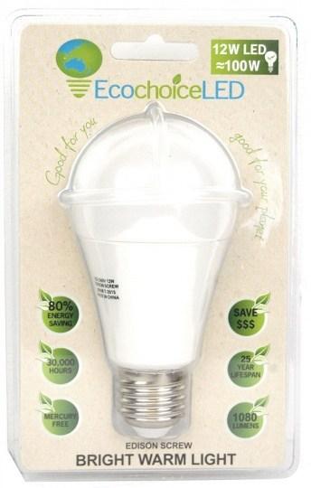 EcochoiceLED 12W Edison Screw Globe Bright Warm Light