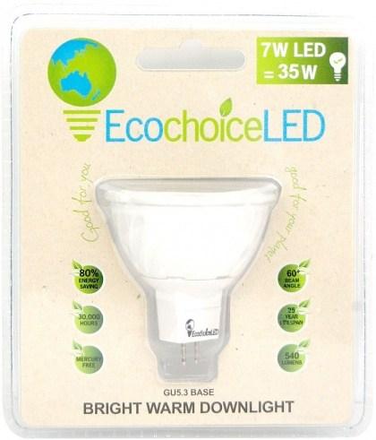 EcochoiceLED 7W Bright Warm Downlight GU5.3 Base