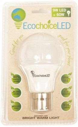 EcochoiceLED 9W Bayonet Cap Globe Bright Warm Light