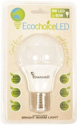 EcochoiceLED 9W Edison Screw Globe Bright Warm Light