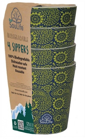 EcoSouLife Bamboo 4Pc Sipper Cup Set Paisley 248ml