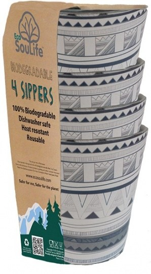 EcoSouLife Bamboo 4Pc Sipper Cup Set Tribal Bliss 248ml