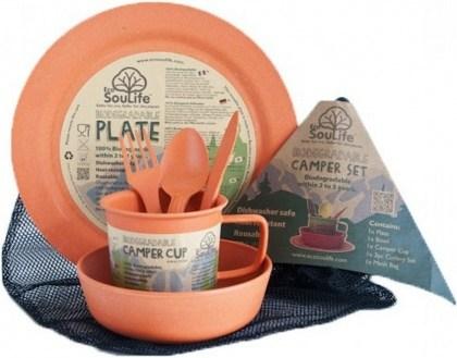 EcoSouLife Bamboo Camper Set Main Plate Orange