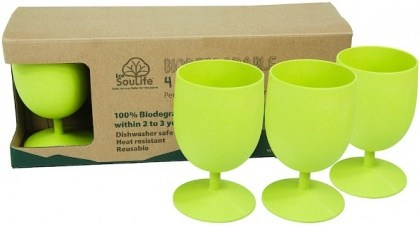 EcoSouLife Bamboo Eco Goblet Pack Lime 4Pc