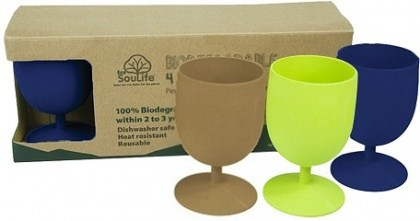 EcoSouLife Bamboo Eco Goblet Pack Mixed  4Pc
