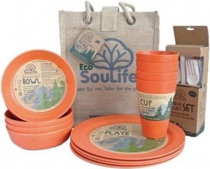 EcoSouLife Bamboo Picnic Set  Orange