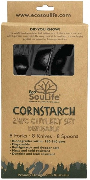EcoSouLife Cornstarch 24Pc Cutlery Set Black