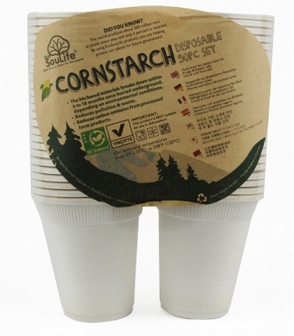 EcoSouLife Cornstarch (250ml) Cup 50Pc Pack Natural