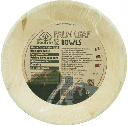 EcoSouLife Palm Leaf (D18 x H3.5cm) Small Bowls Natural 12Pc Set