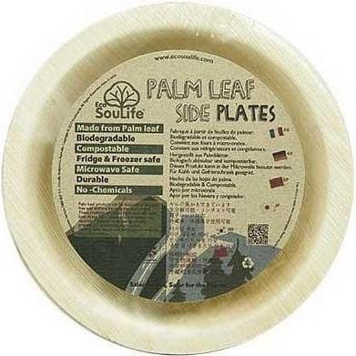 EcoSouLife Palm Leaf (D20 x H2.5cm) Side Plate Natural 25Pc Set