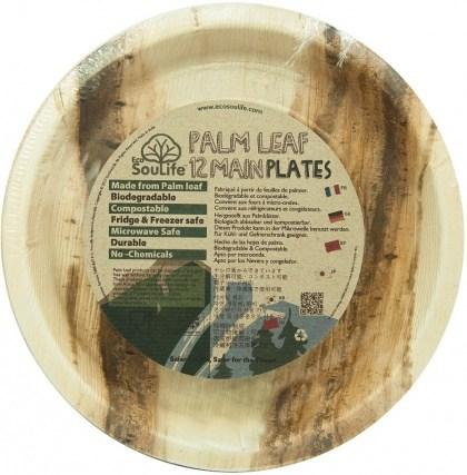 EcoSouLife Palm Leaf (D25 x H2.5cm) Main Plates Natural 12Pc Set